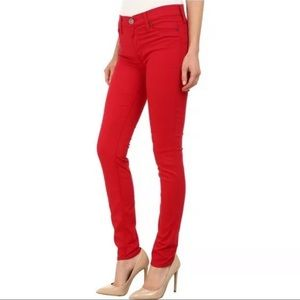 Hudson 25 jeans red Collin skinny Mid rise pants